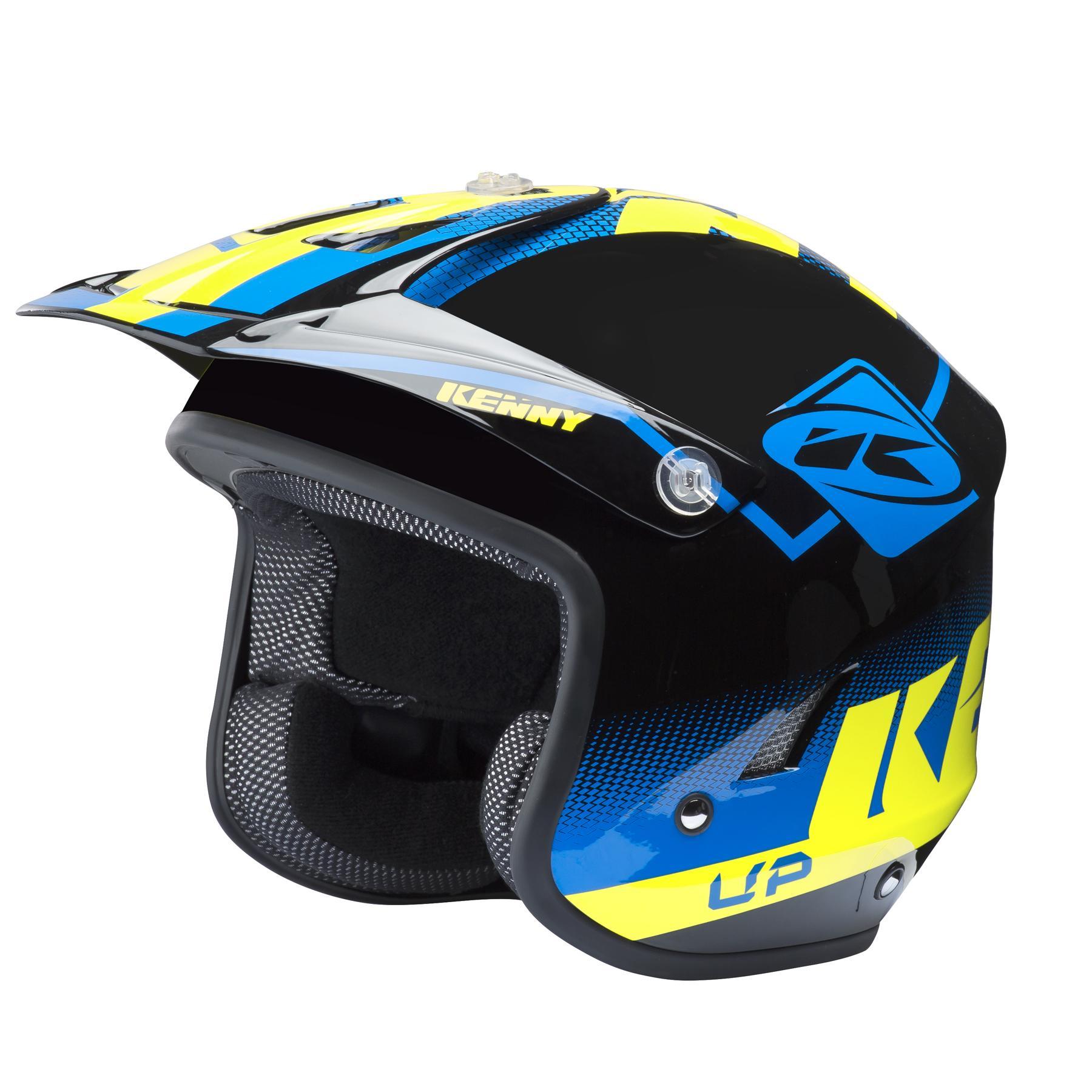helmet trial up blue neon yellow kenny racing