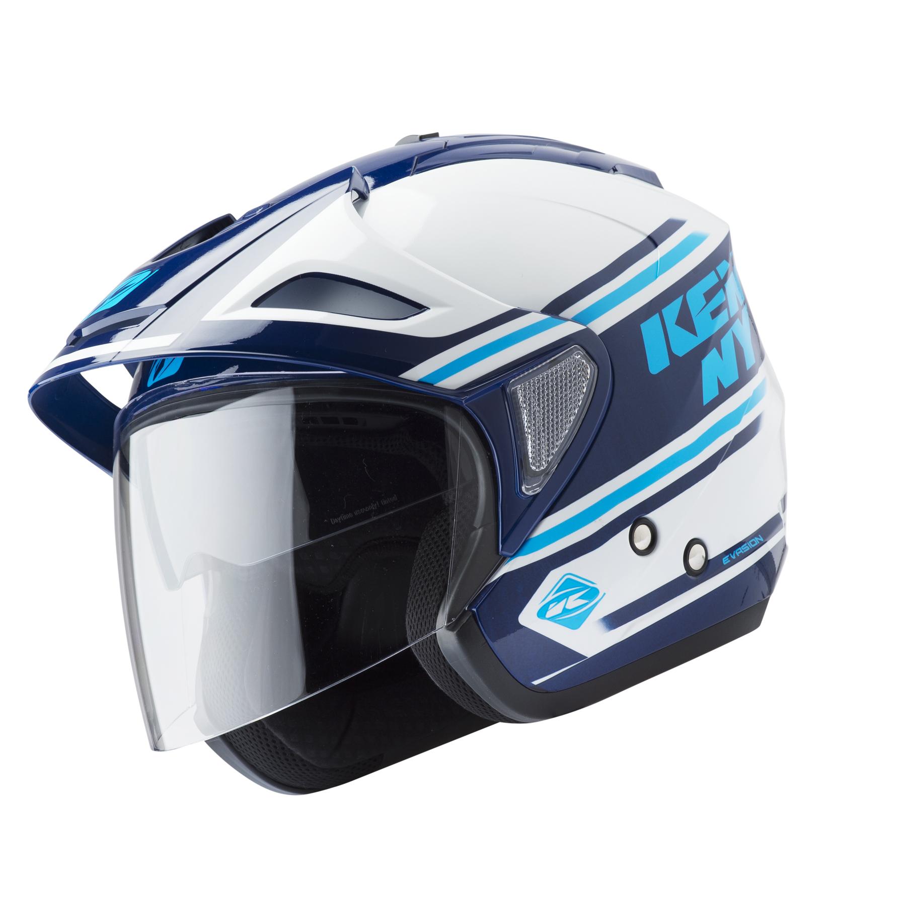 helmet evasion white blue navy kenny racing. Black Bedroom Furniture Sets. Home Design Ideas